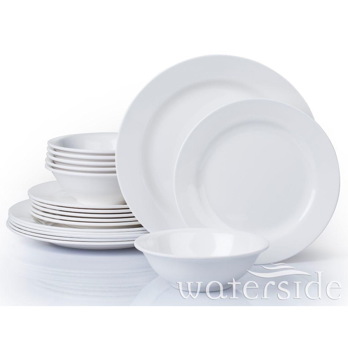 The Waterside 18 Piece Round Melamine Dinner Set White