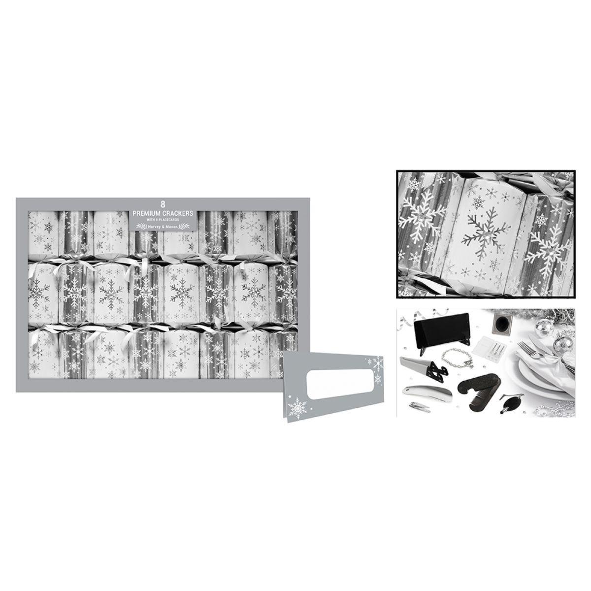 Set of 8 Premium Christmas Crackers - Silver Snowflake