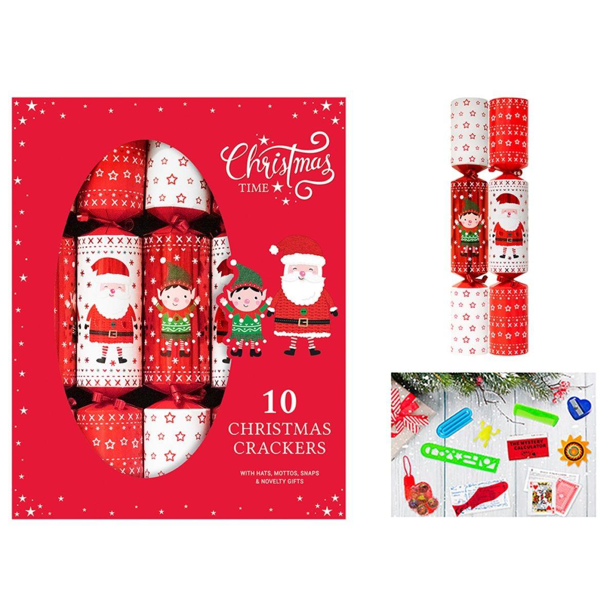 Santa & Elf Set of 10 Christmas Crackers - Red & White