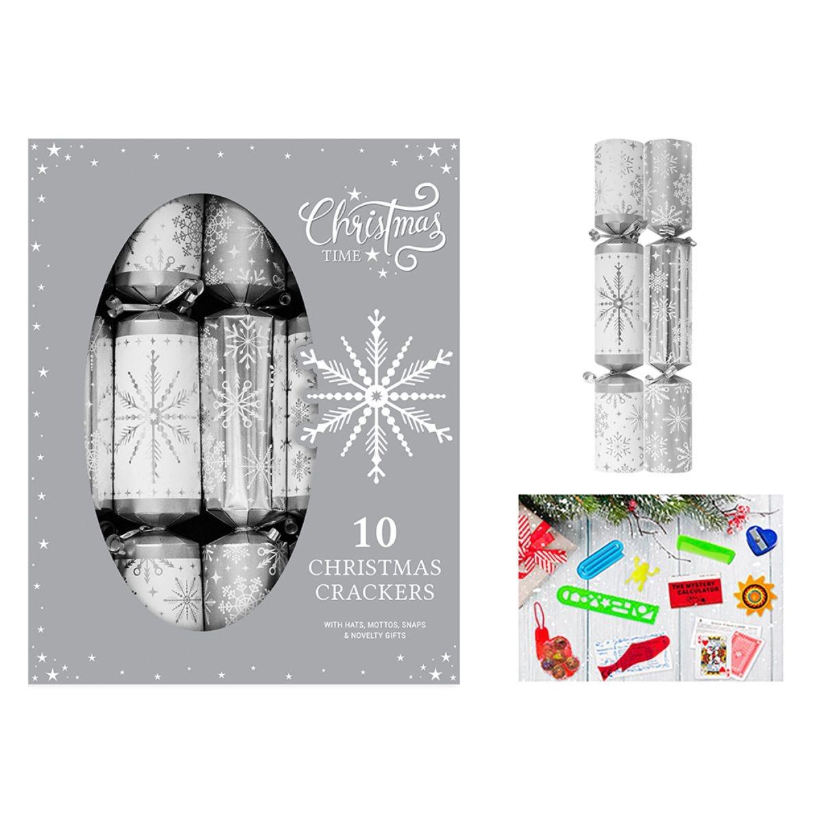 Family Set of 10 Christmas Crackers - Silver Snowflake