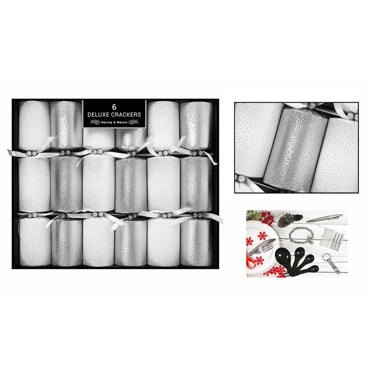 Set of 6 Deluxe Christmas Crackers - Silver & White