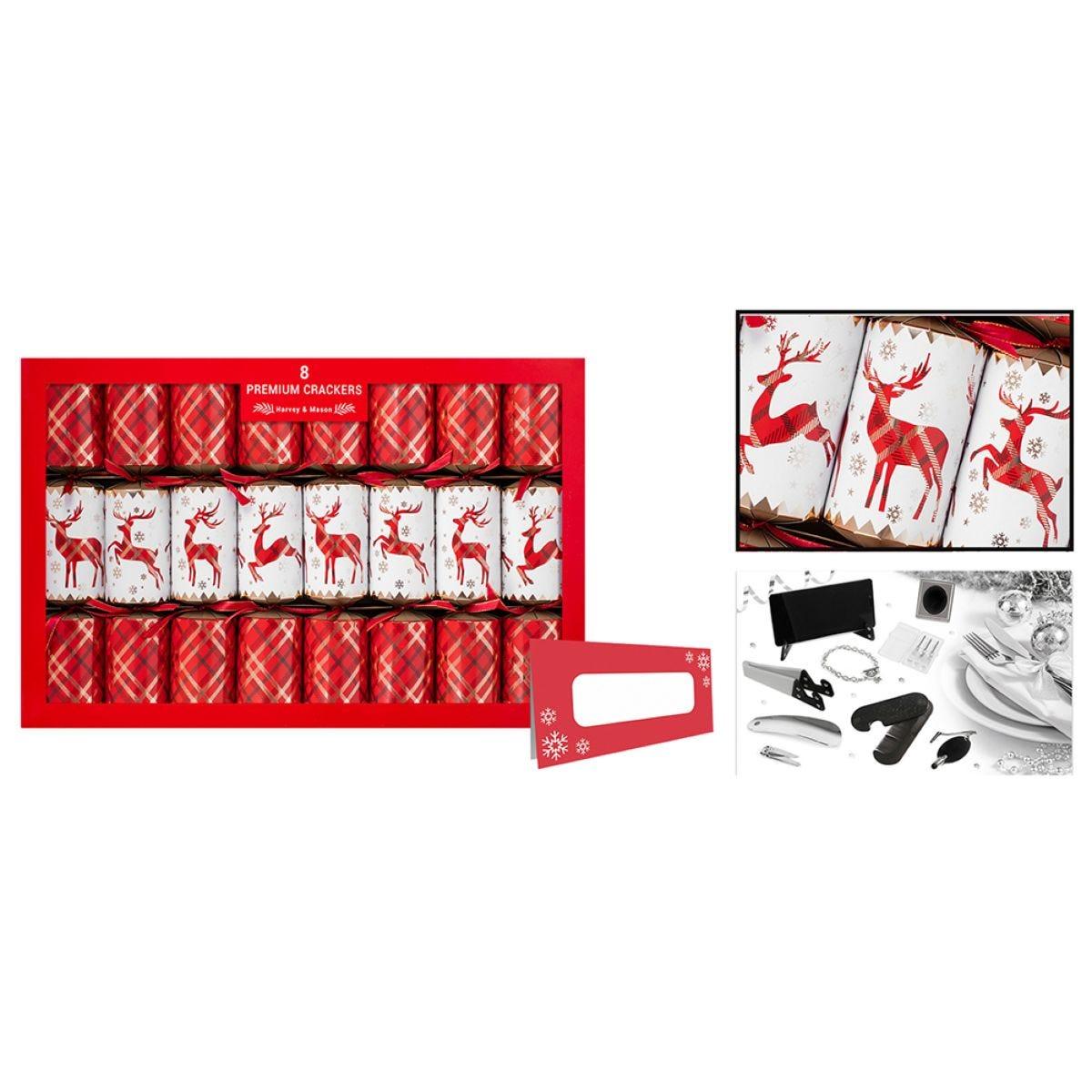 Set of 8 Premium Christmas Crackers - Tartan