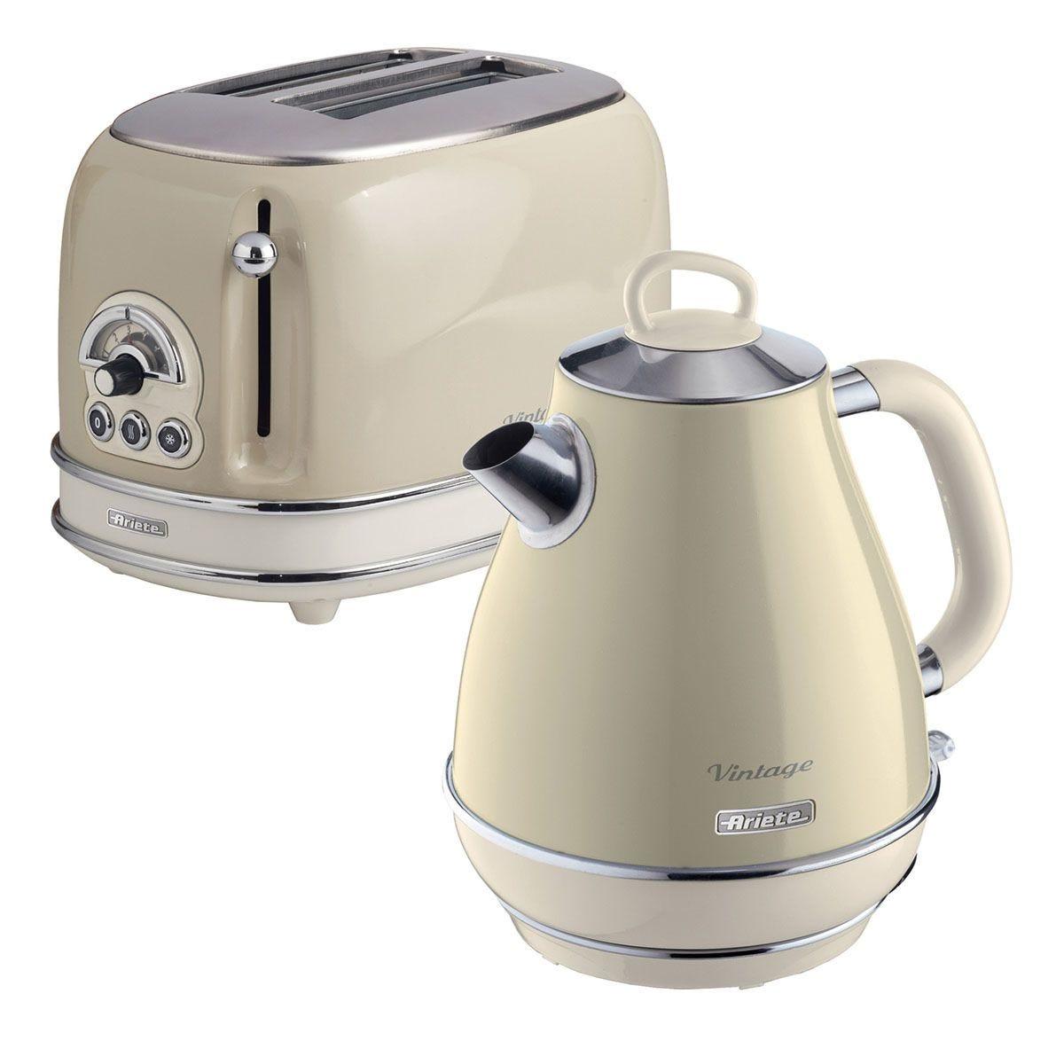 Ariete ARPK1 Vintage 2–Slice Toaster and 1.7L Fast Boil Jug Kettle – Cream