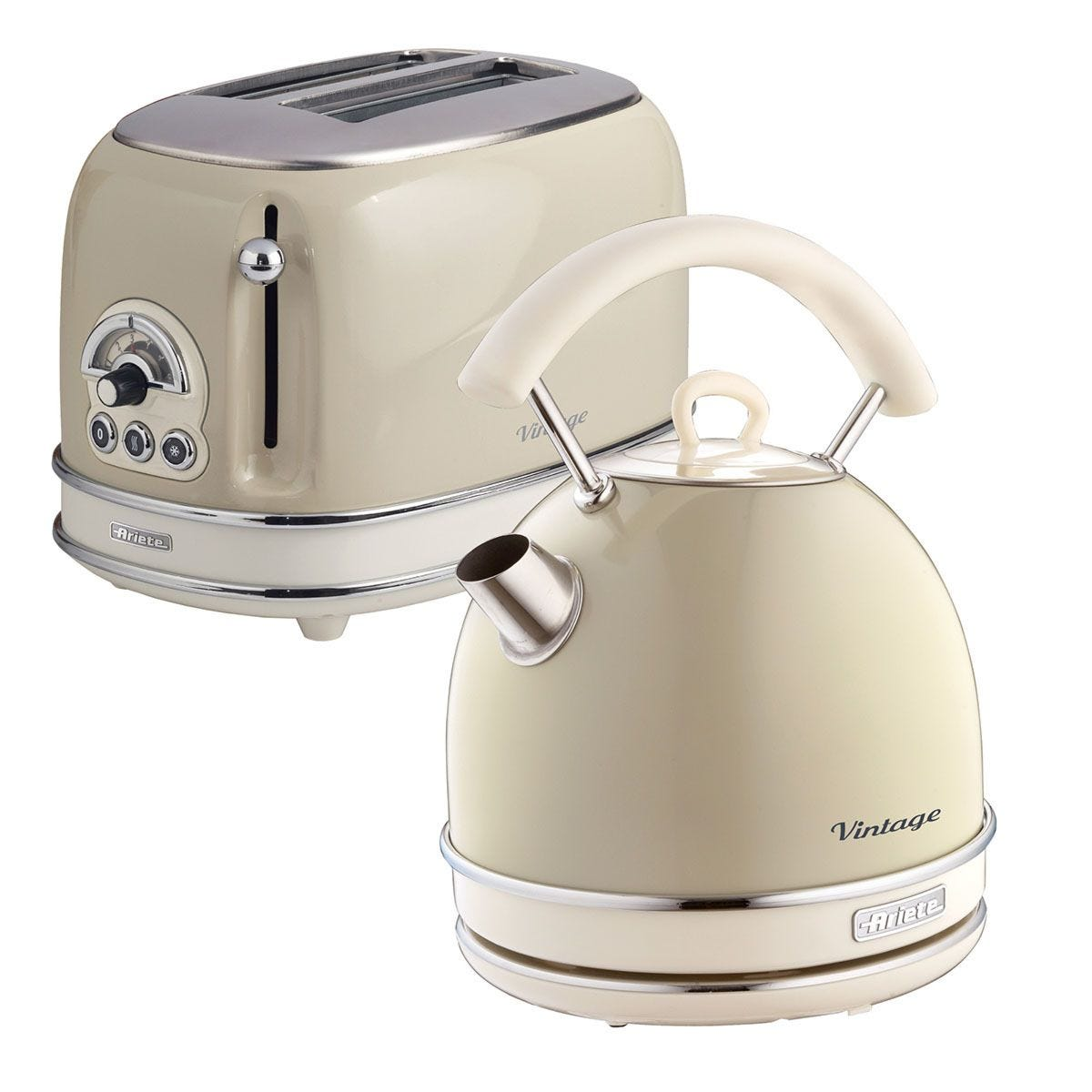 Ariete Vintage 2-Slice Toaster and 1.7L Dome Kettle - Cream