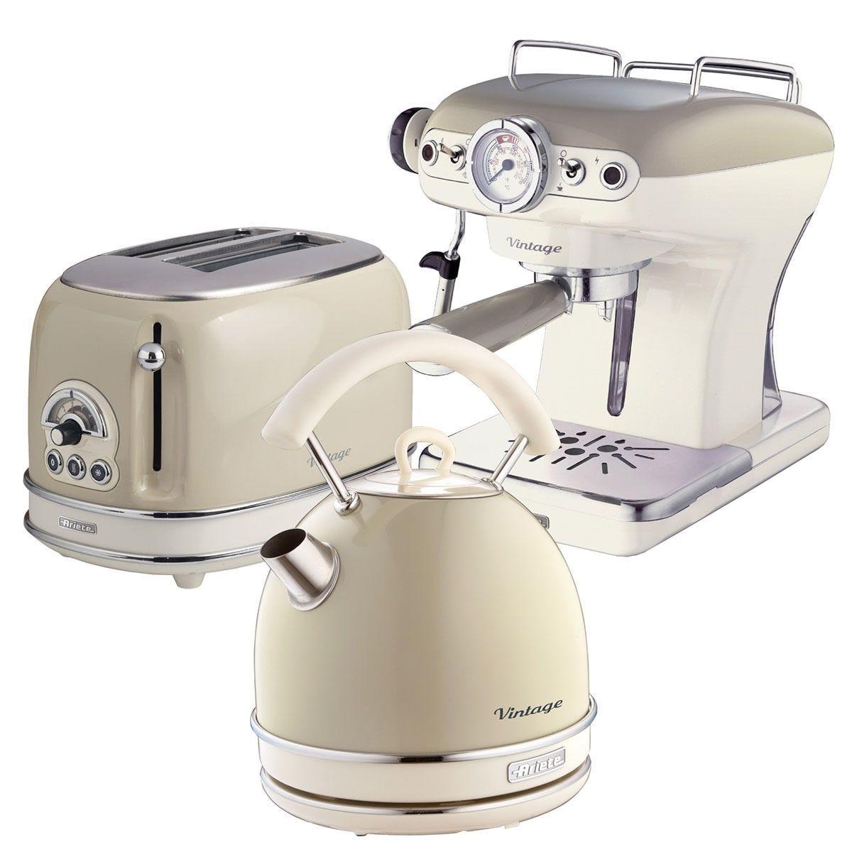 Ariete Vintage 2-Slice Toaster, 1.7L Dome Kettle, and Espresso Coffee Maker - Cream