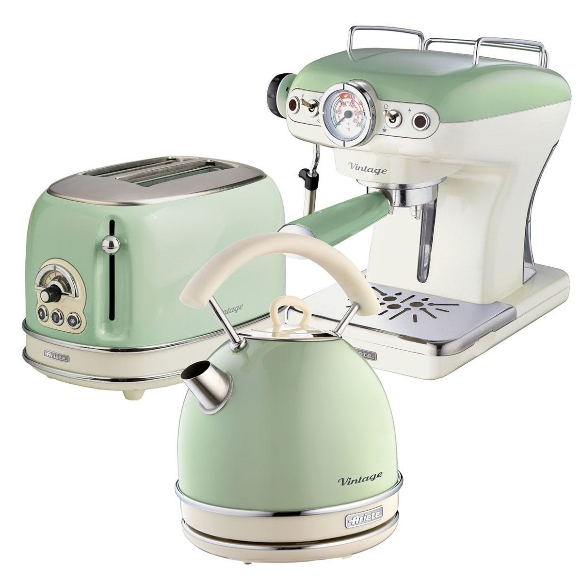 Ariete ARPK17 Vintage 2–Slice Toaster, 1.7L Dome Kettle, and Espresso Coffee Maker – Green