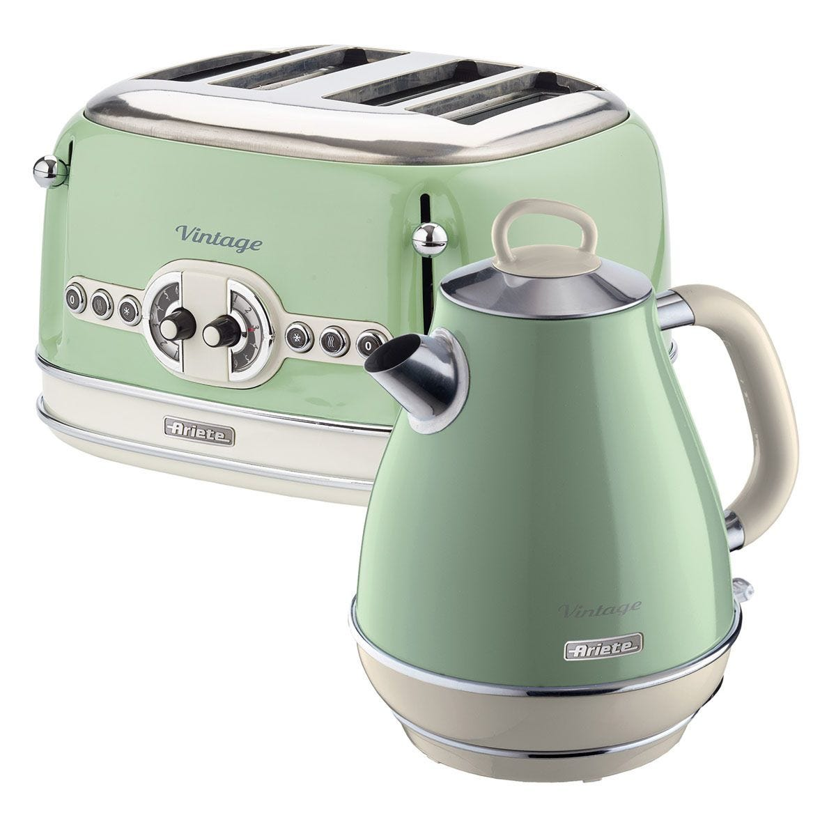 Ariete ARPK20 Vintage 4–Slice Toaster and 1.7L Fast Boil Jug Kettle – Green