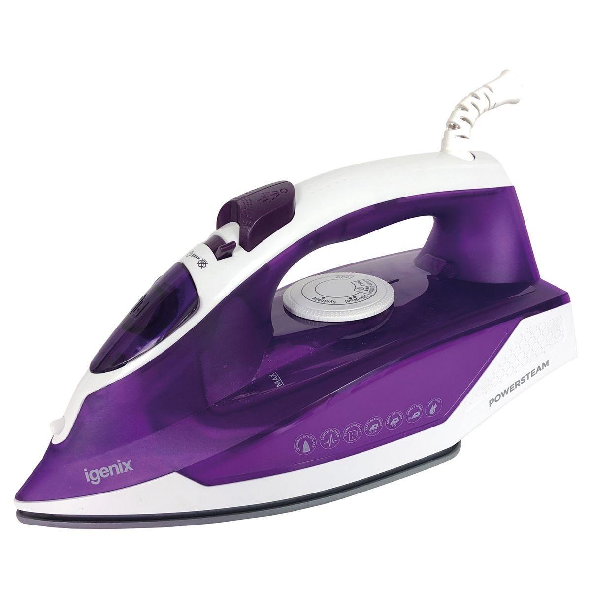 Igenix IG3122 Powersteam Vertical 2200W Steam Iron - Purple/White