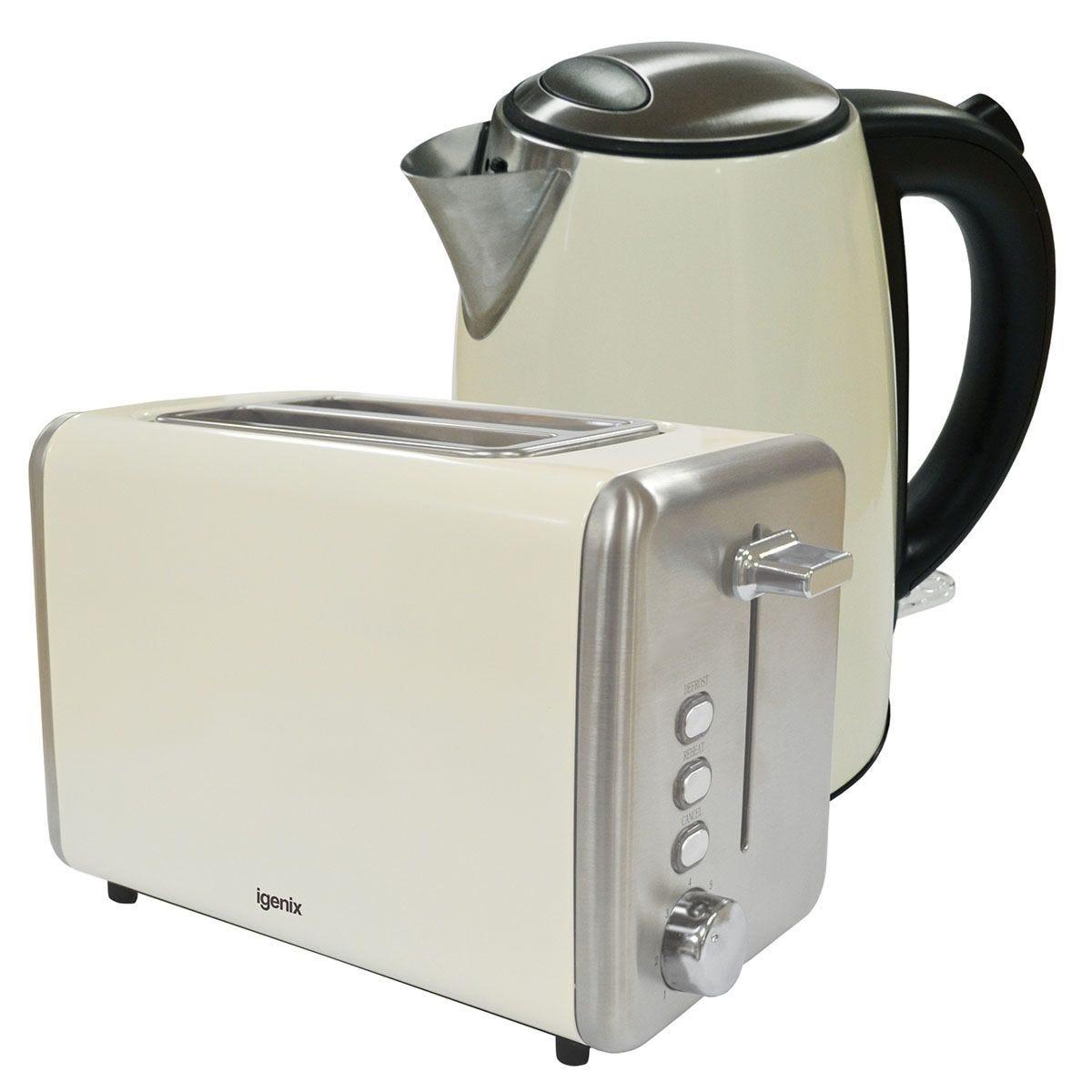 Igenix 1.7L Stainless Steel Kettle & 2-Slice Toaster - Cream