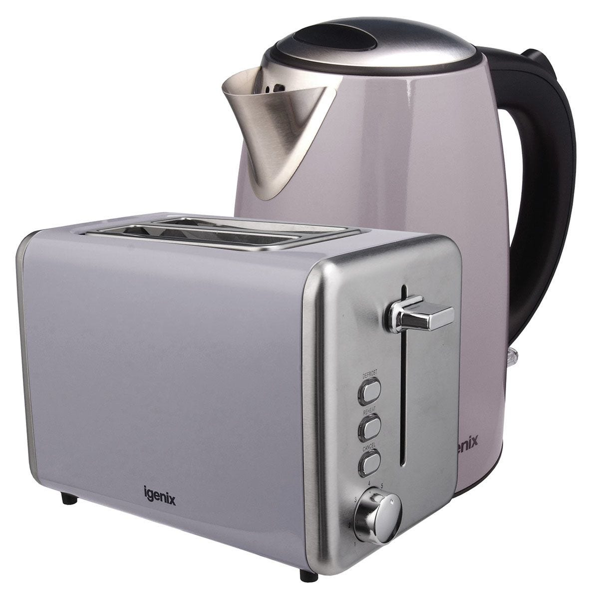 Igenix IGPK24 1.7L Stainless Steel Kettle & 2–Slice Toaster – Grey