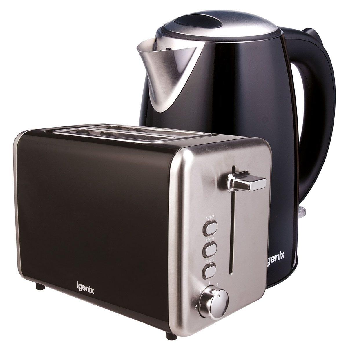 Igenix 1.7L Stainless Steel Kettle & 2-Slice Toaster - Black