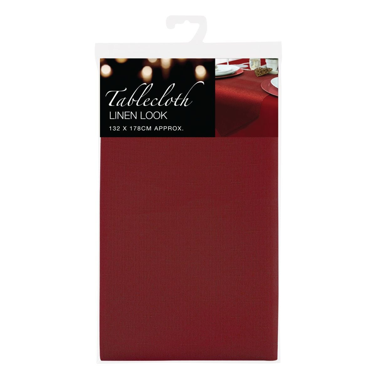 Red Linen Look Tablecloth