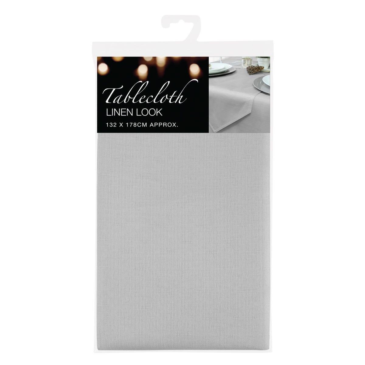 Grey Linen Look Tablecloth