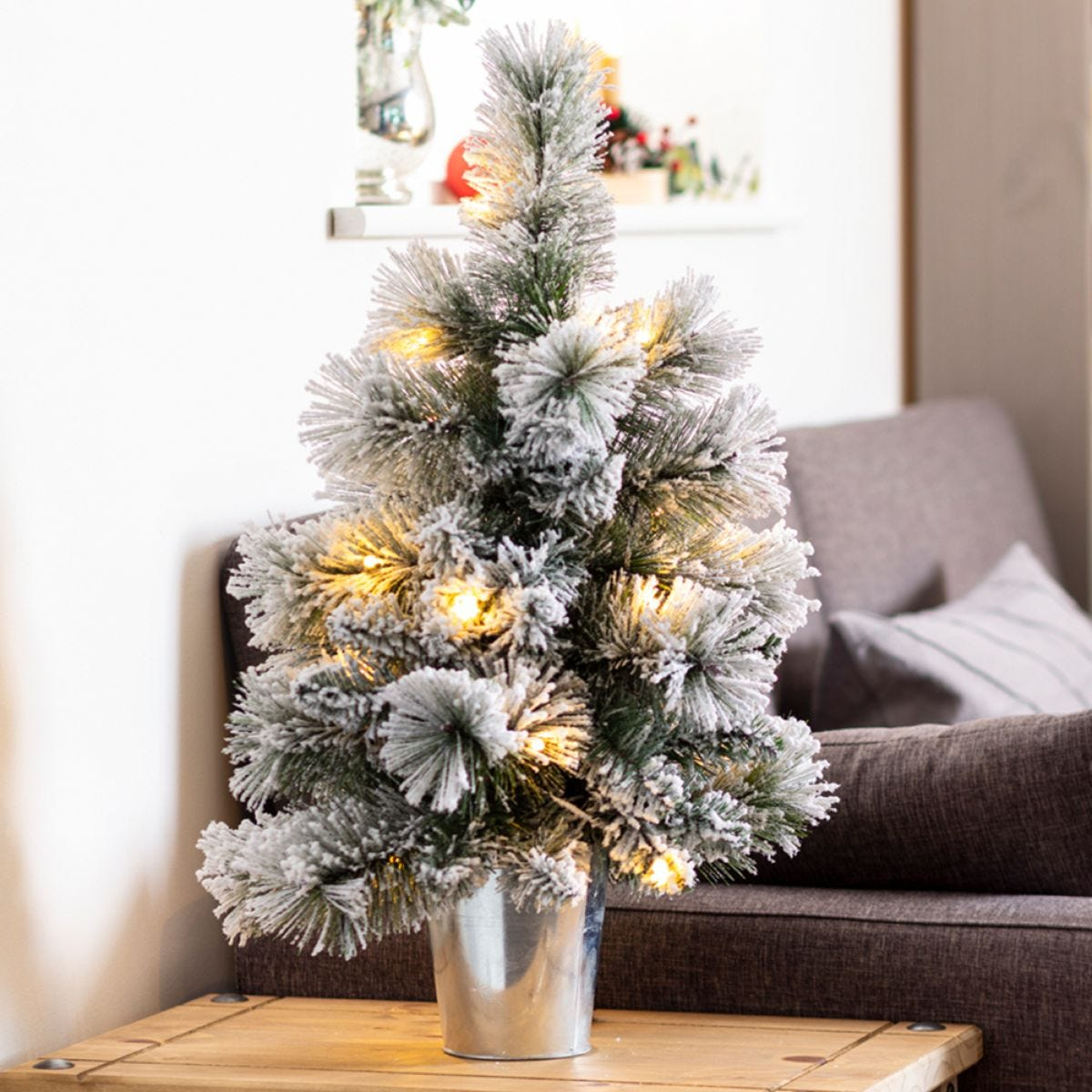 2ft Frosted Tree in Silver Tin Pot