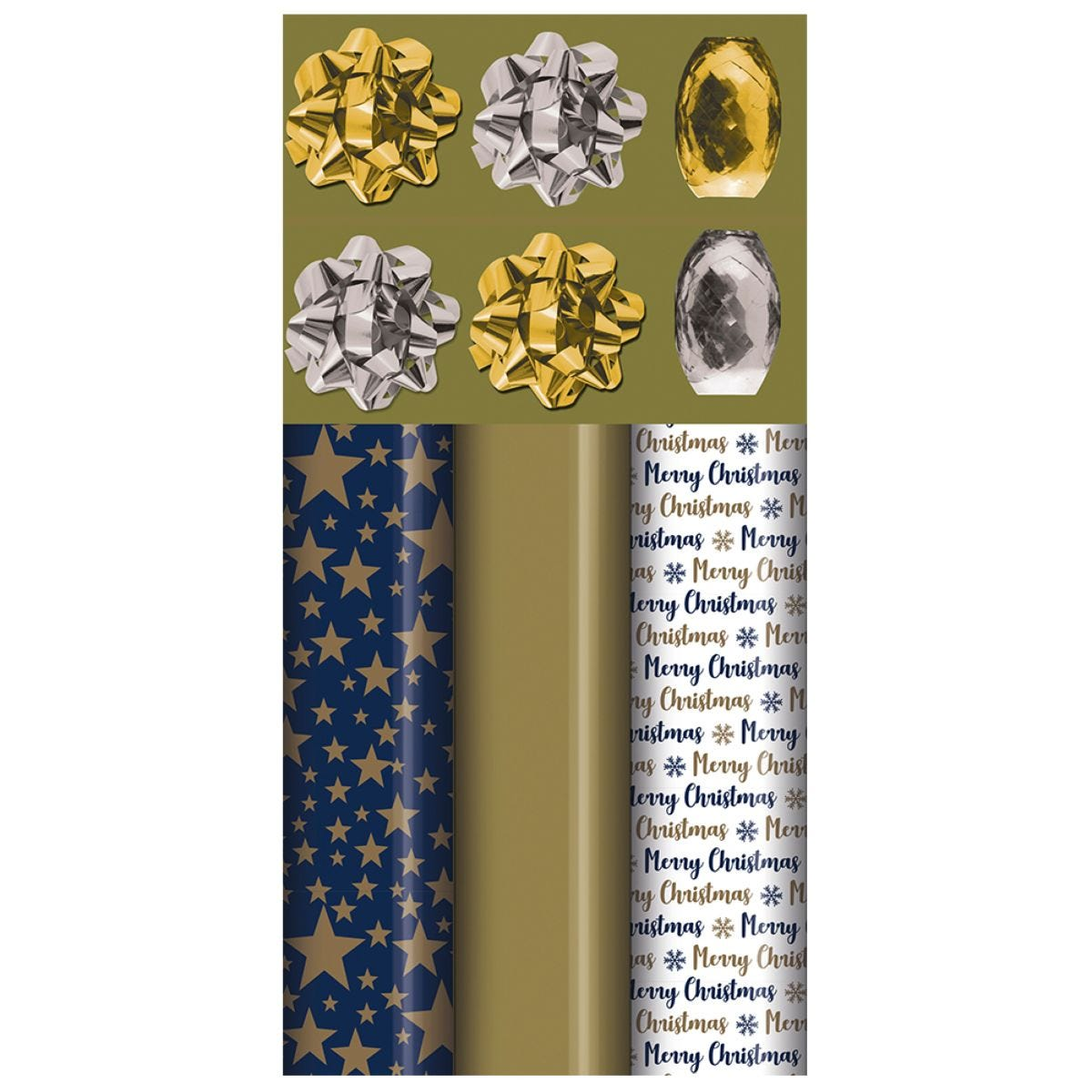 Navy & Gold Christmas Gift Wrap Pack
