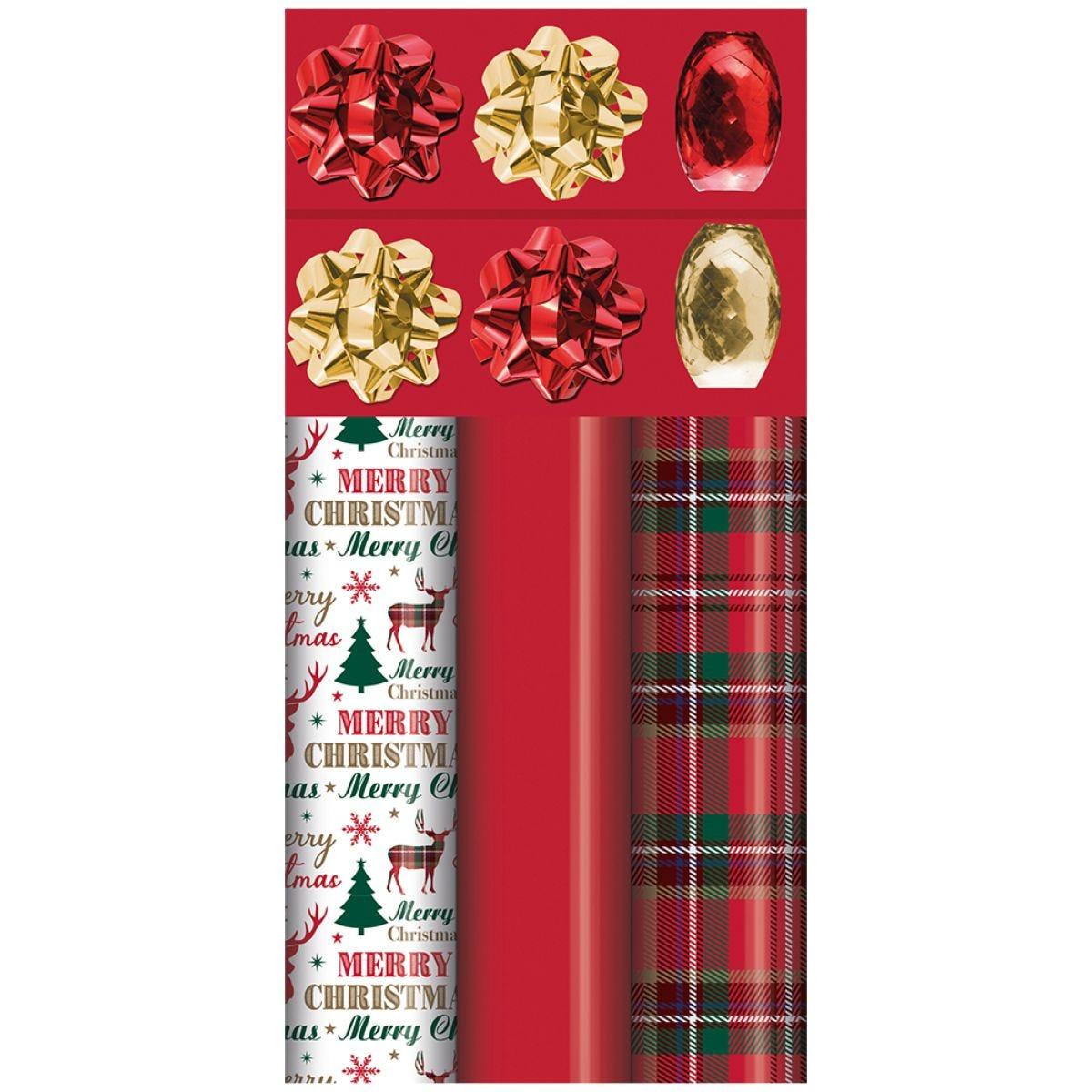 Tartan & Red Christmas Gift Wrap Pack