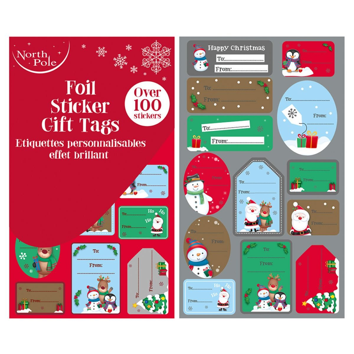 100 Foil Sticker Gift Tags