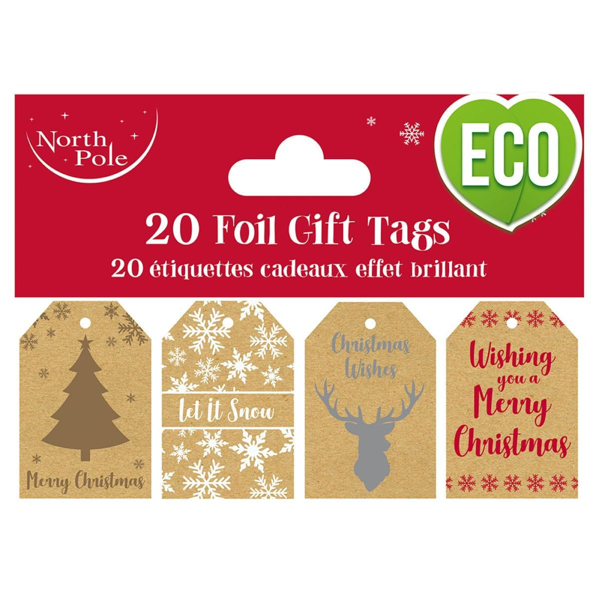 Pack of 20 Kraft Printed Christmas Gift Tags