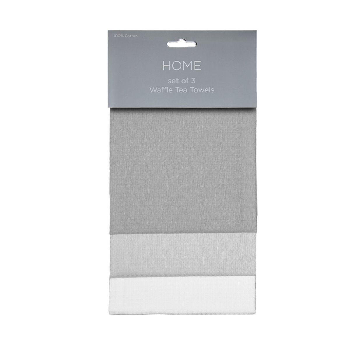 Waffle Tea Towels Set of 3 - Grey Mix