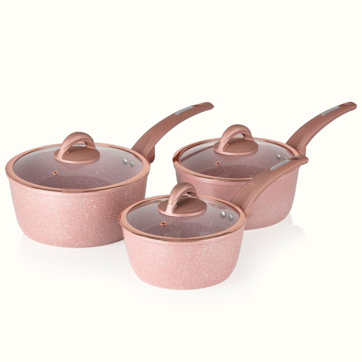 Tower Cerastone Forged 3 Piece Saucepans - Rose Pink