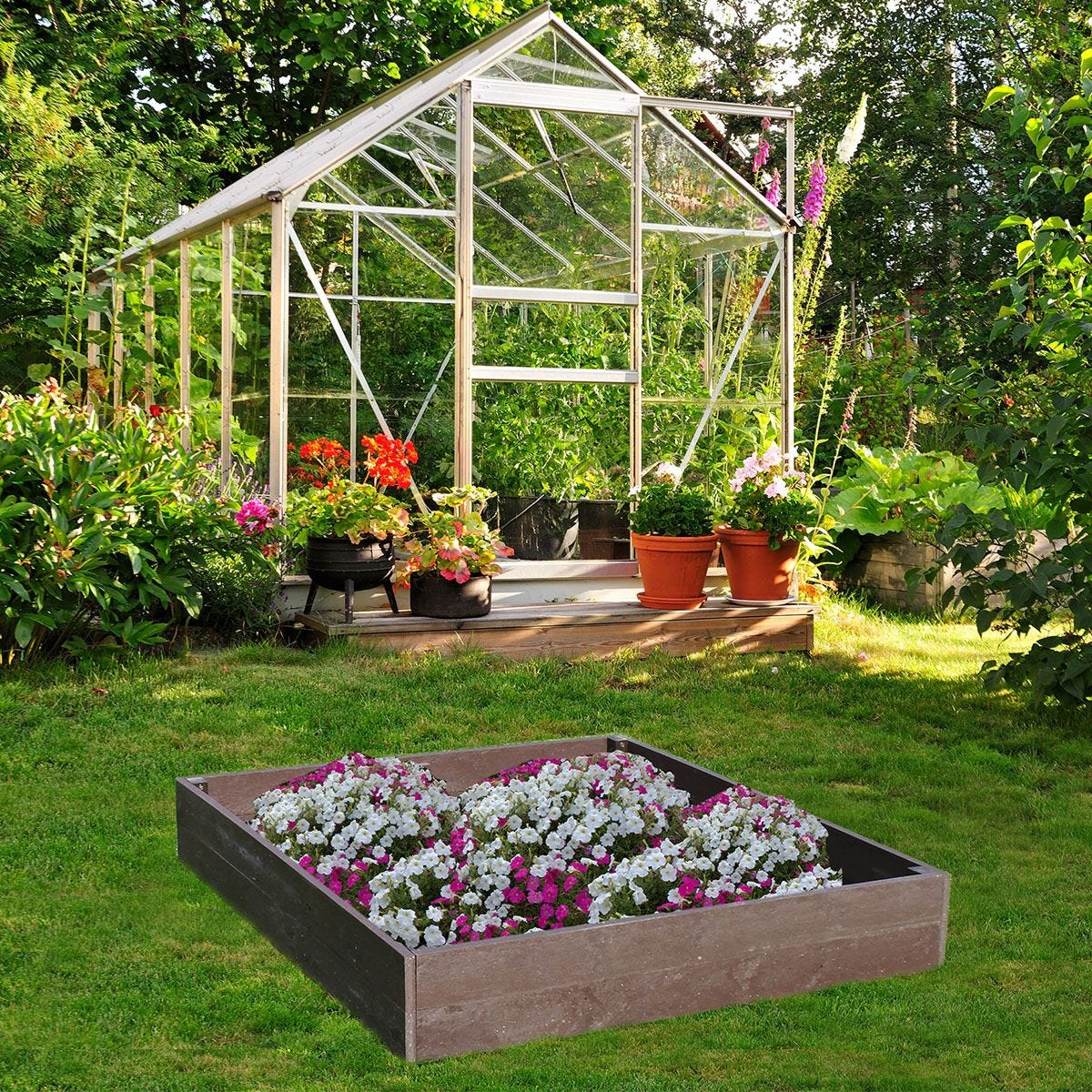 NBB Recycled Furniture EverYear Raised Bed L1200 x D1240 x H200mm - Brown