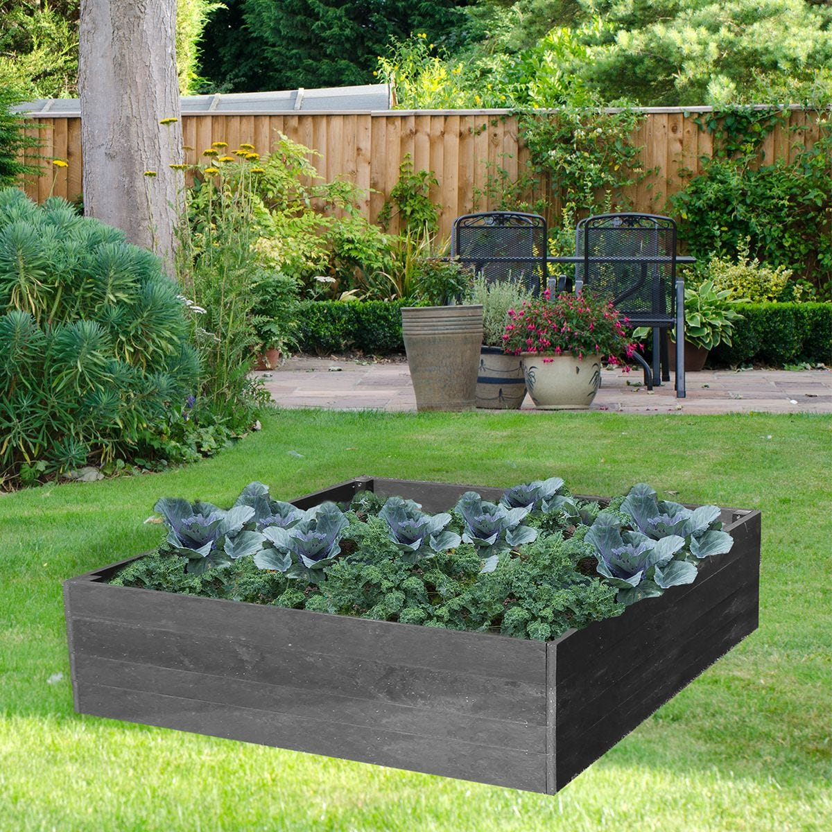 NBB Recycled Furniture EverYear Raised Bed L1200 x D1240 x H400mm - Grey