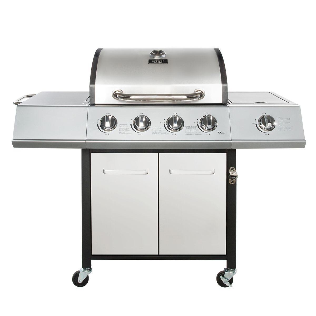 Charles Bentley 5 Burner (4 + side) Premium Gas BBQ - Silver
