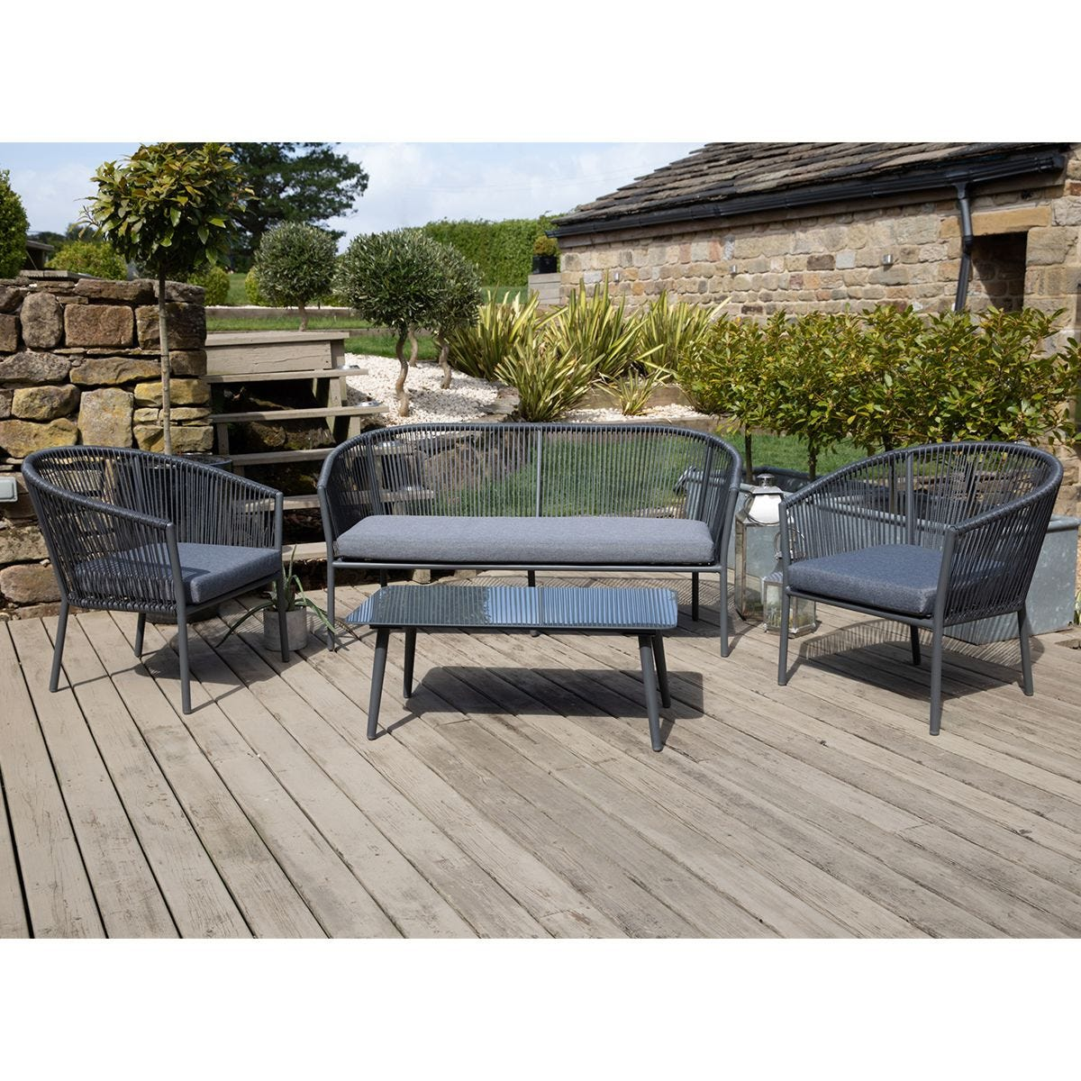Pacific Lifestyle Limoges Stackable 4 Seater Lounge Set - Grey