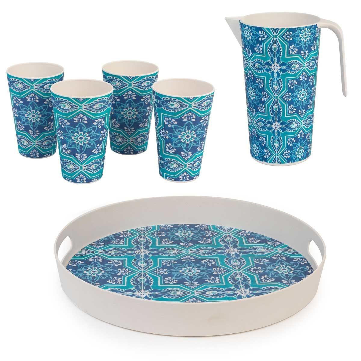 Cambridge BPA Free 6pcs Picnic Drinks Set - Blue