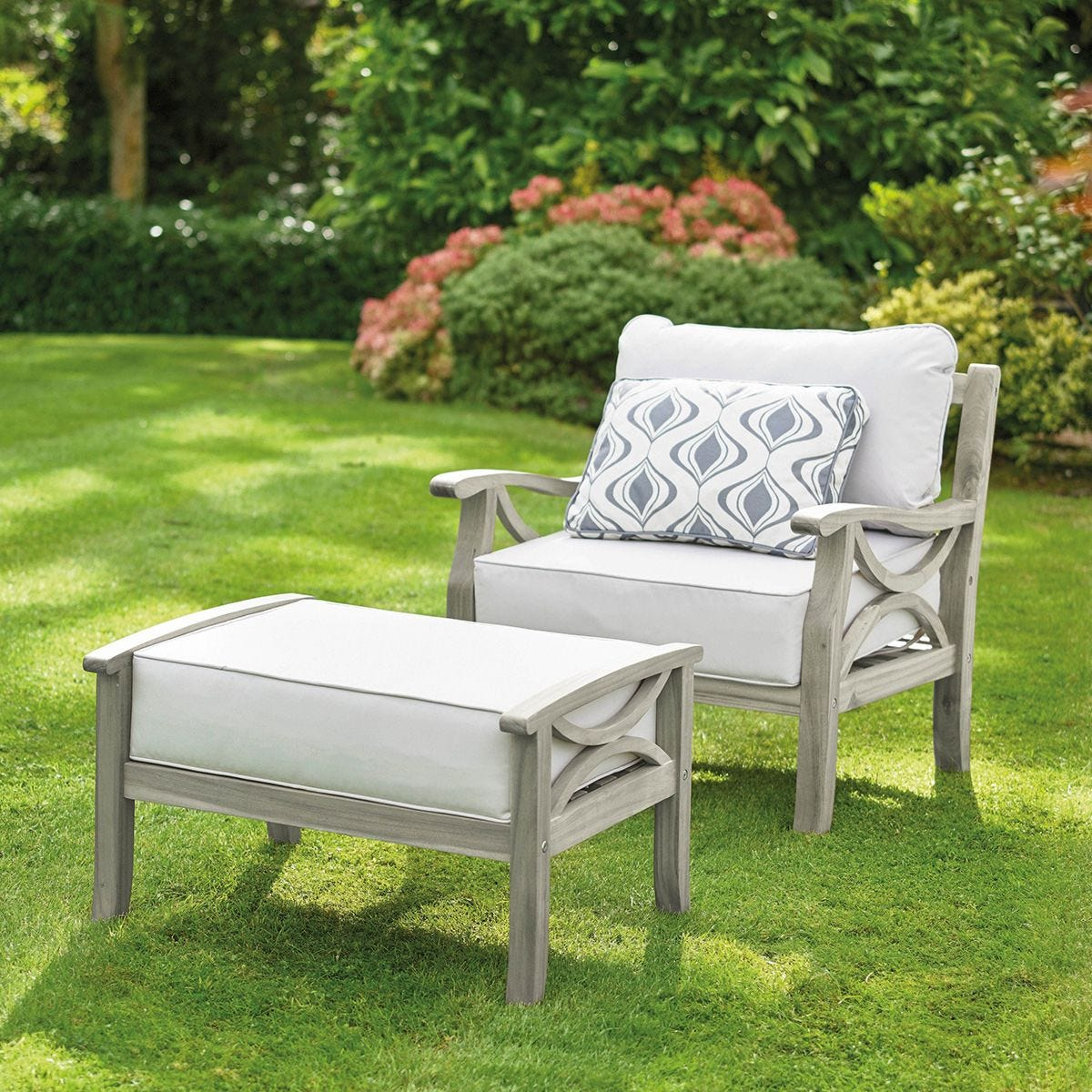 Greenhurst Hardwood Sorrento Armchair with Footrest and Cushions - Grey