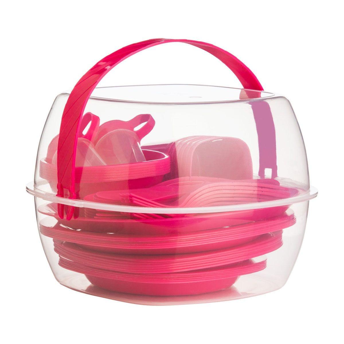 Essentials By Premier 51-Piece Picnic Set - Hot Pink