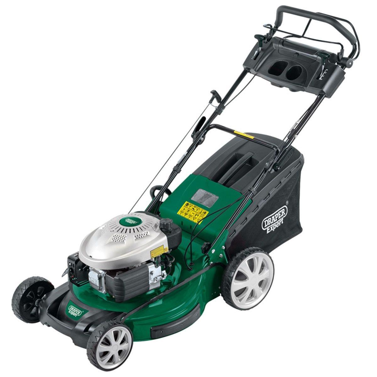 Draper 3-in-1 560mm Self-Propelled Petrol Lawn Mower (173cc/4.9HP) - Green and Black