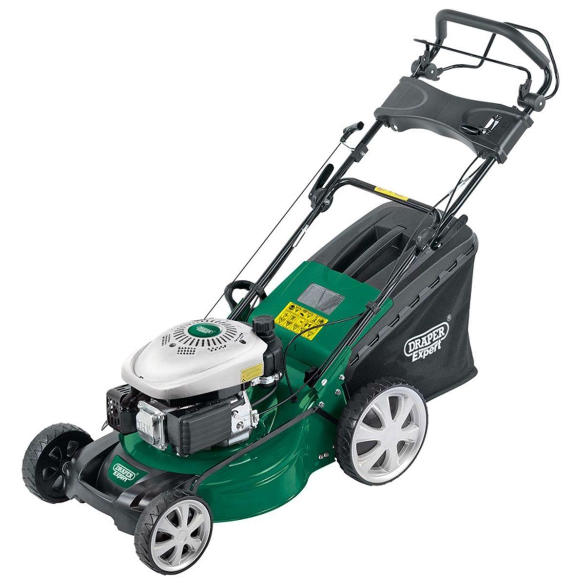 Draper 3-in-1 460mm Self-Propelled Petrol Lawn Mower (135cc/3.2HP) - Green and Black