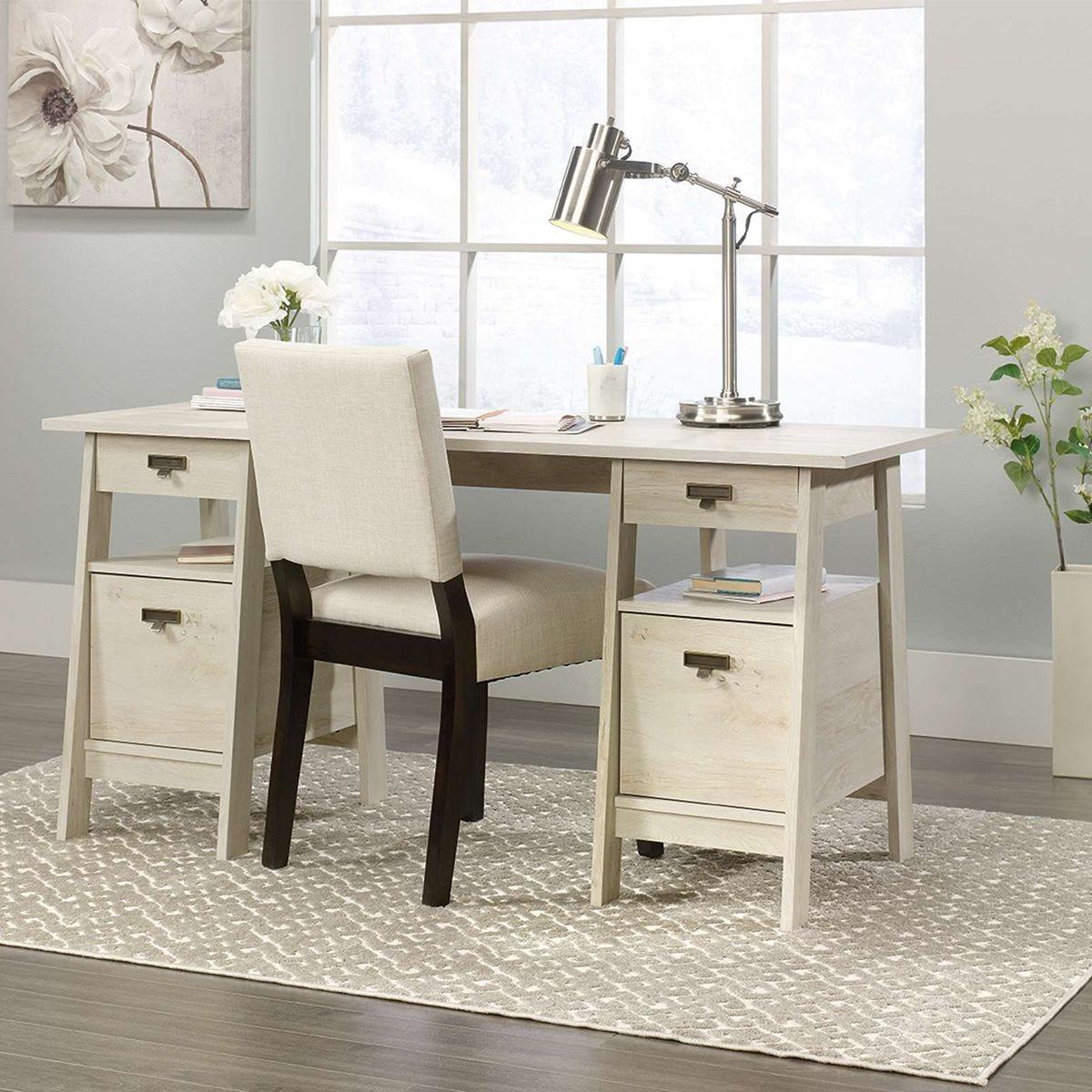 Teknik Executive Trestle Desk - Chalked Chestnut Finish