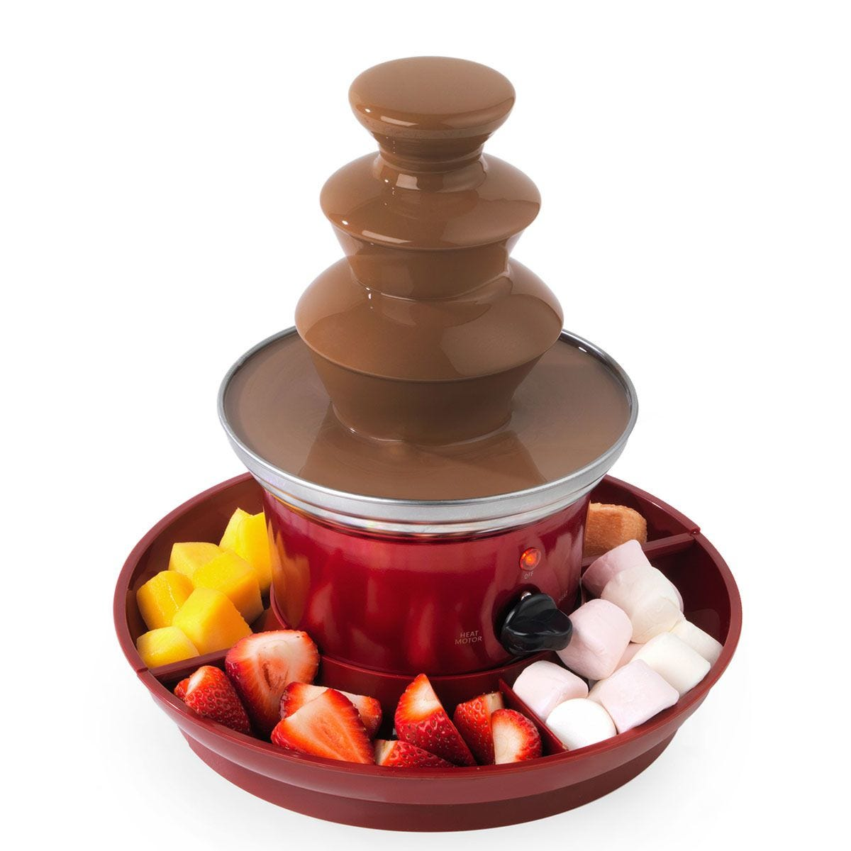 Giles & Posner EK3428G Chocolate Fountain with Fruit Tray and 100 Bamboo Skewers - Red