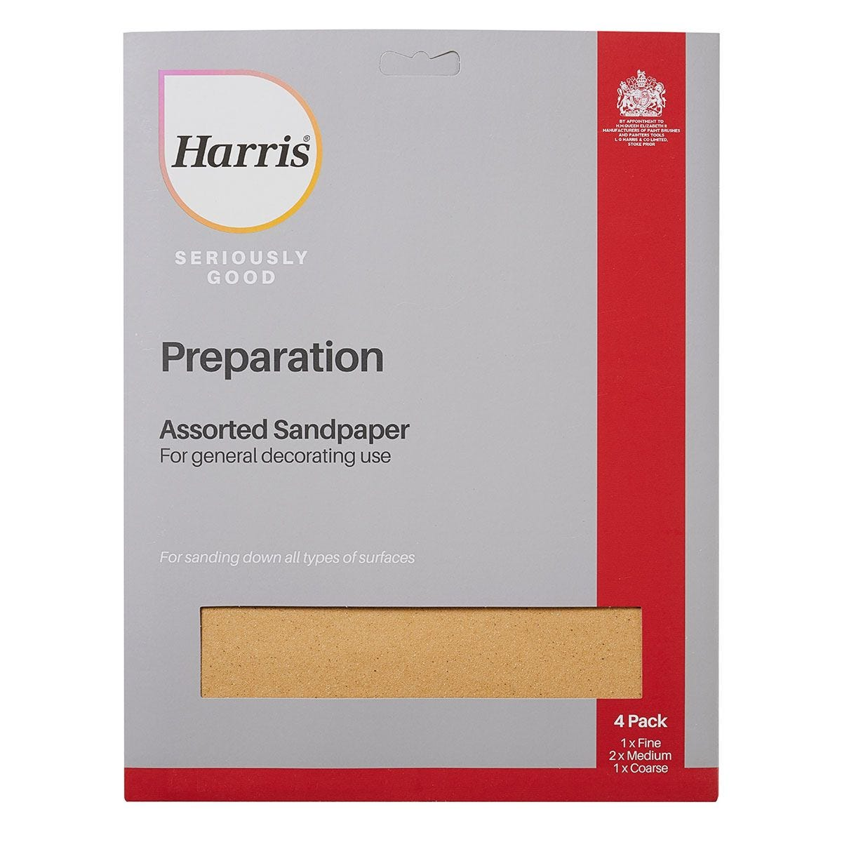 Harris Seriously Good Assorted Sandpaper - Pack of 4 - Grey & Yellow