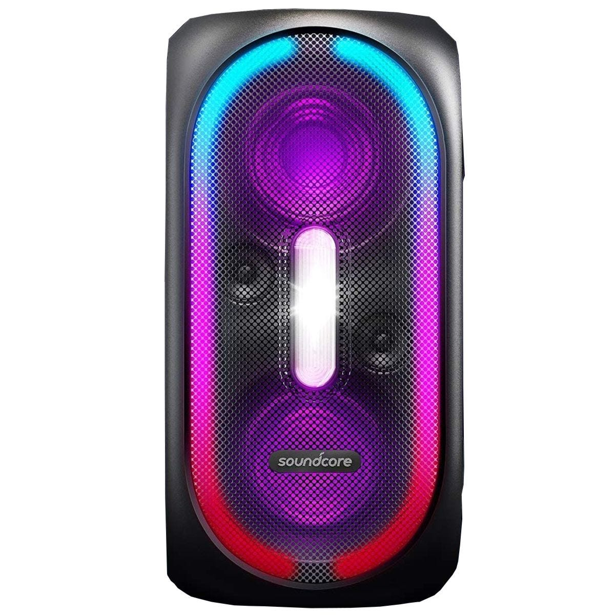 Soundcore Rave Portable Party-Proof Speaker with Body Shaking Bass, Light Show, 24-Hour Playtime & PowerIQ - Black