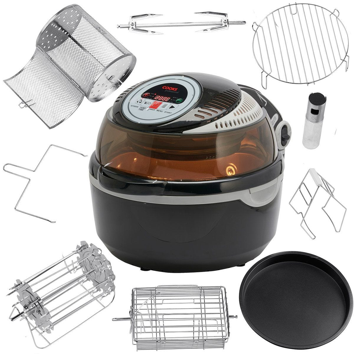 Cooks Professional G4397 V2 Rotisserie Air Fryer with Accessories Pack – Black/Grey