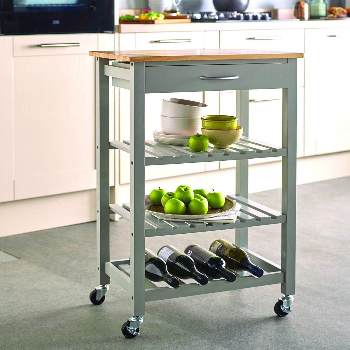 Robert Dyas Contemporary Kitchen Trolley - Grey
