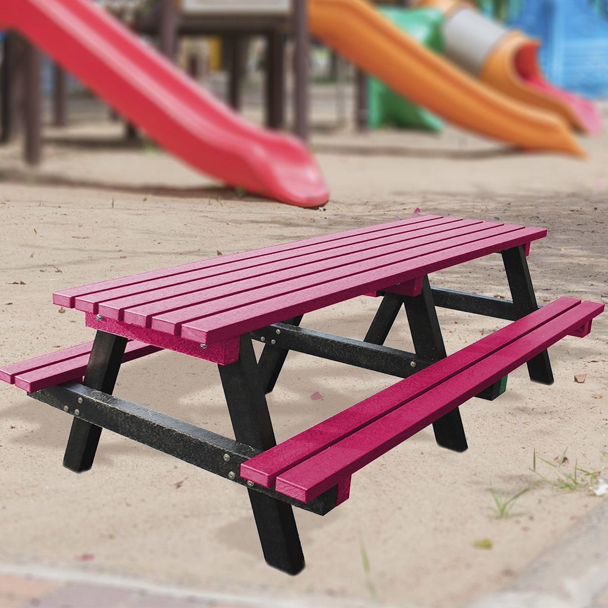 NBB Junior Medium 150cm Recycled Plastic Picnic Table - Cranberry Red