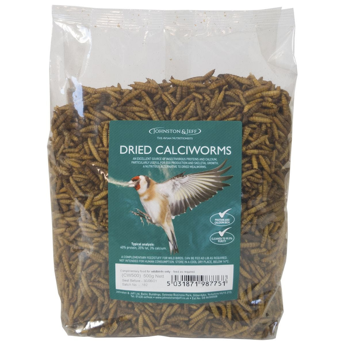 Johnston & Jeff Dried Calciworms Bird Feed 500g