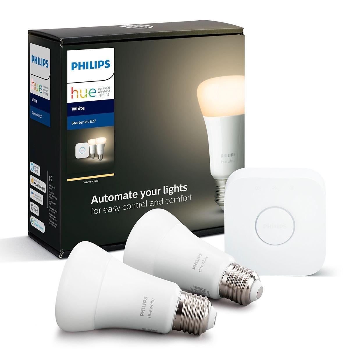 Philips Hue White Starter Kit: Smart Bulb Twin Pack LED E27 incl. Bridge
