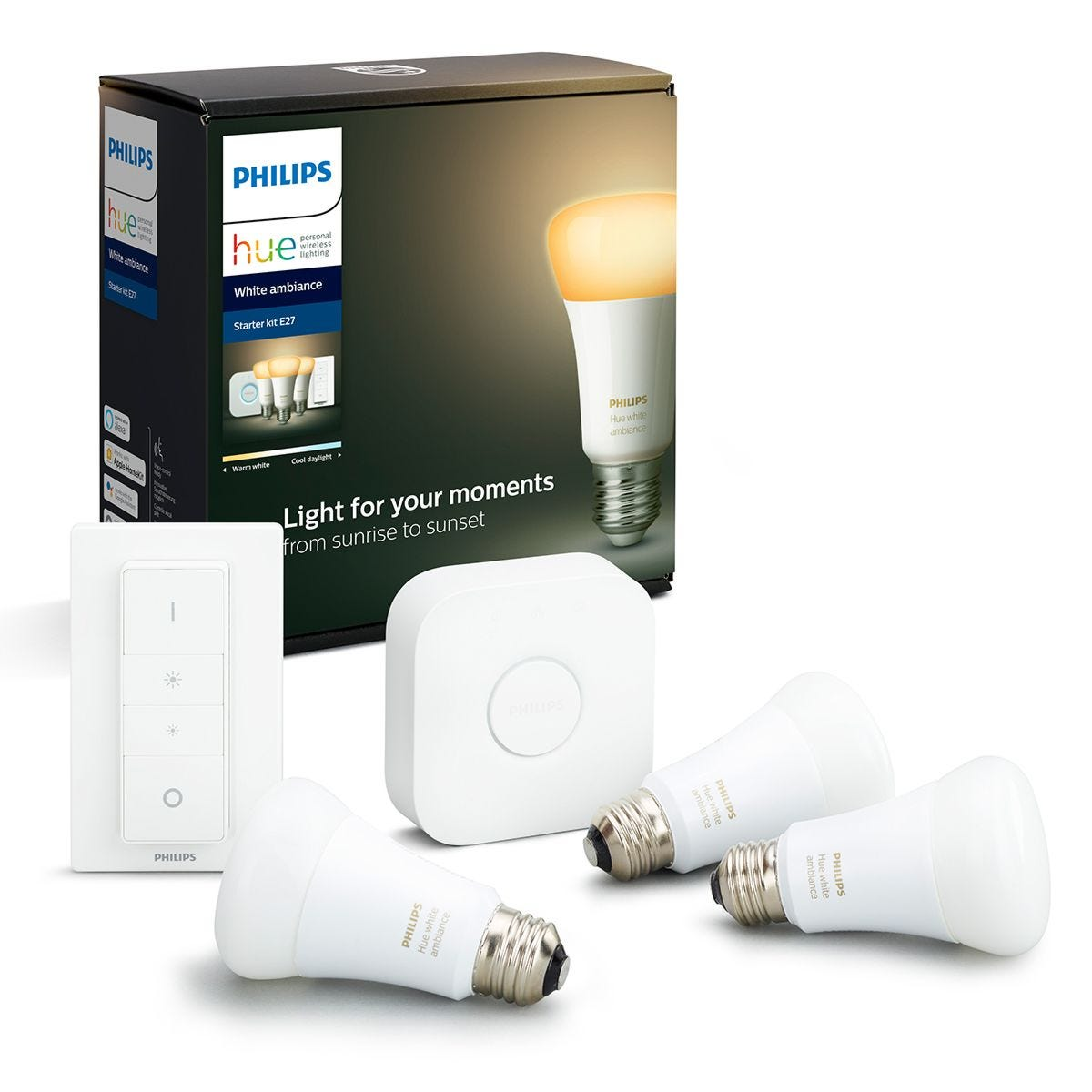 Philips Hue White Ambiance Starter Kit: Smart Bulb 3x Pack LED E27 incl. Dimmer Switch and Bridge