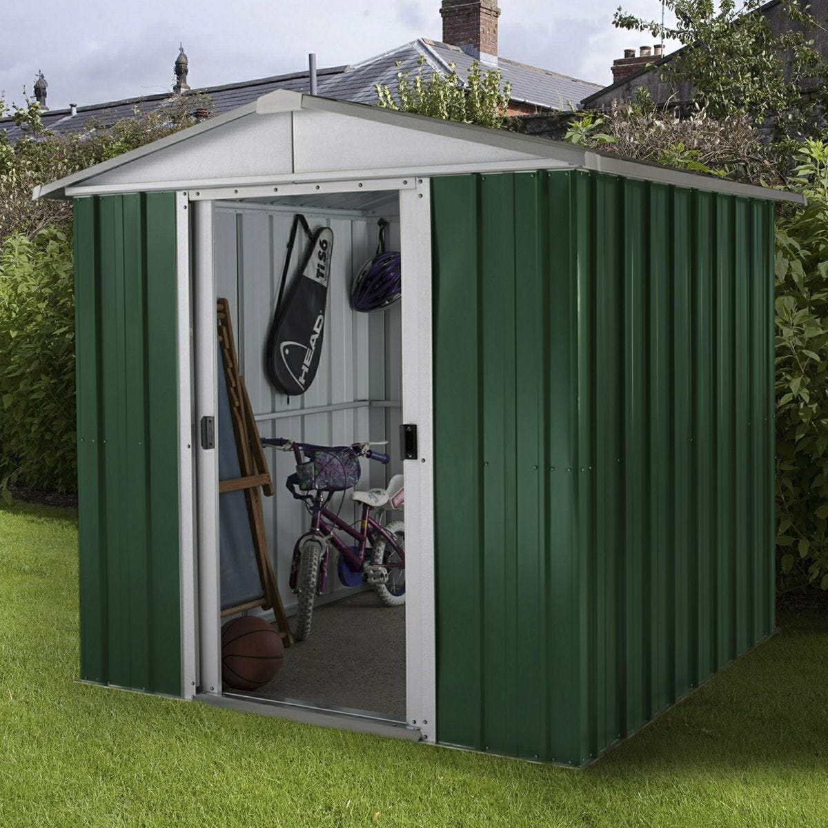 Yardmaster Emerald Deluxe Metal Apex Shed with Floor Support Frame