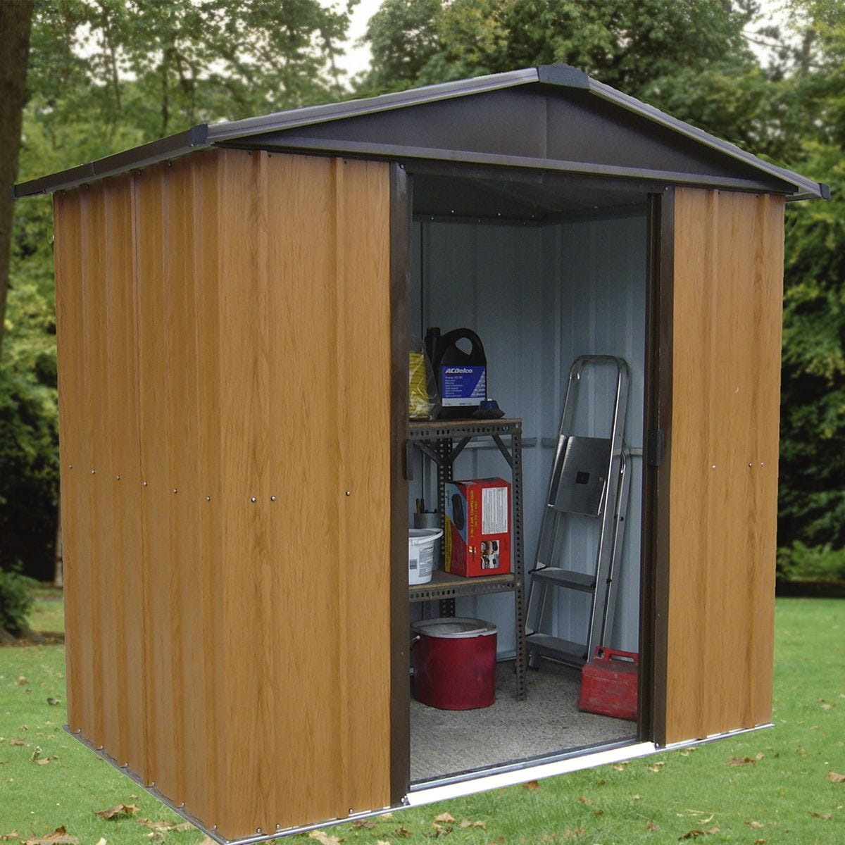 Yardmaster Woodview Metal Apex Shed 6 x 5ft with Floor Support Frame