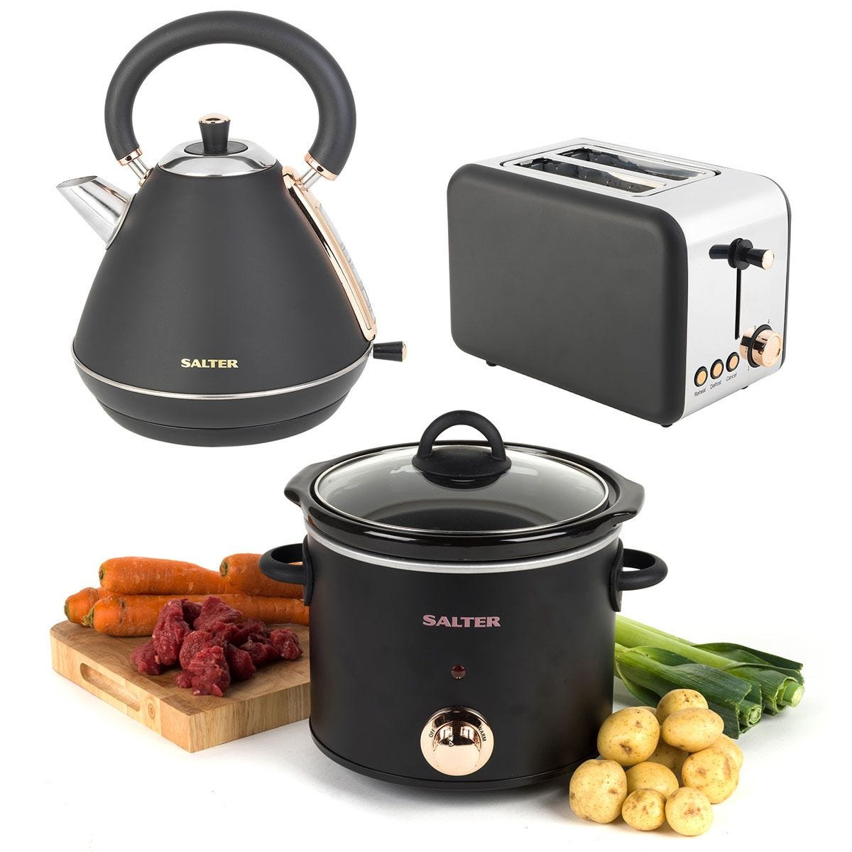 Salter 3KW 1.7L Pyramid Kettle, 2-Slice Toaster, & 3.5L Slow Cooker Set- Rose Gold