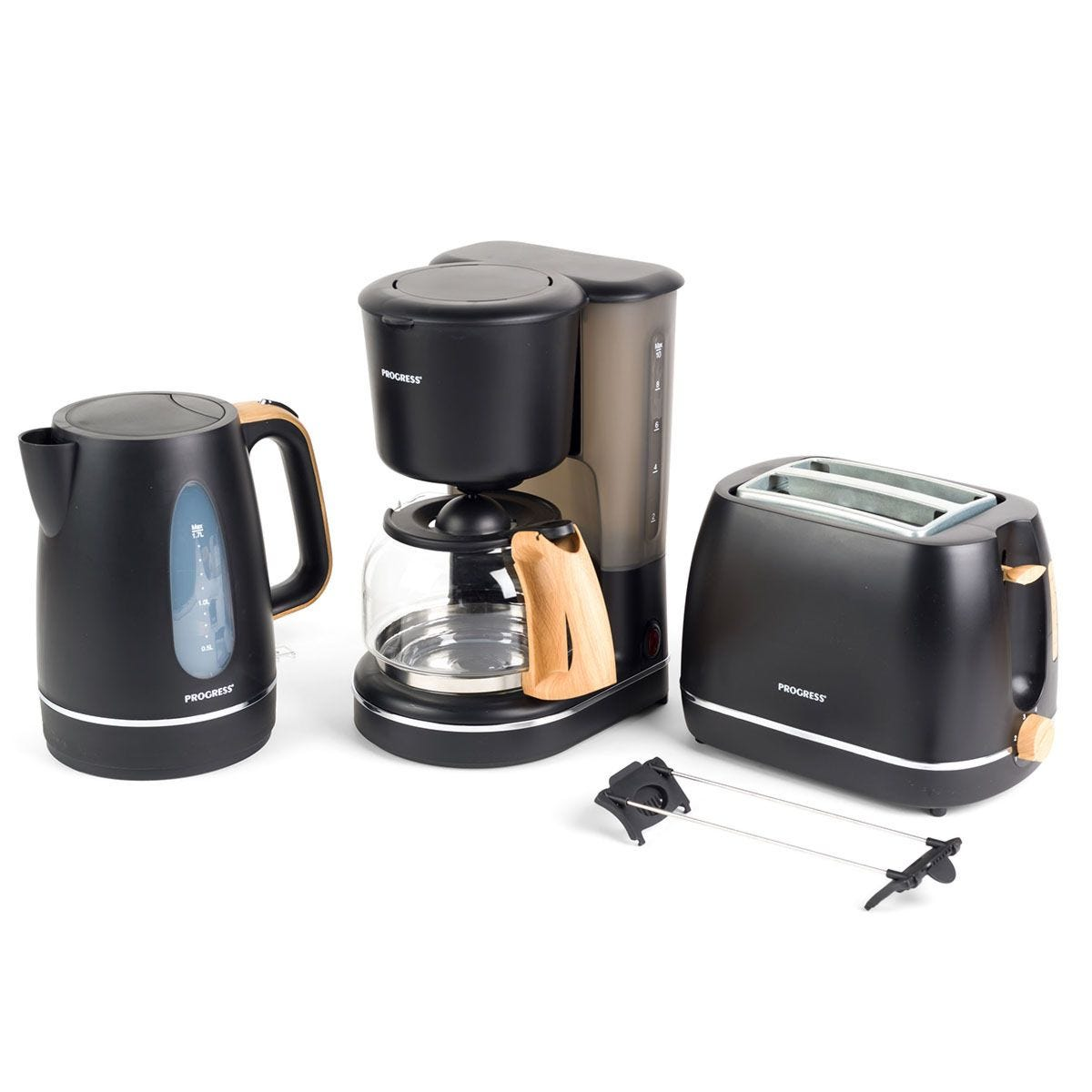 Progress® COMBO–5150 Scandi 2–Slice Toaster, 1.25L Coffee Maker, and 1.7L Jug Kettle – Black with Wood Effect Finish