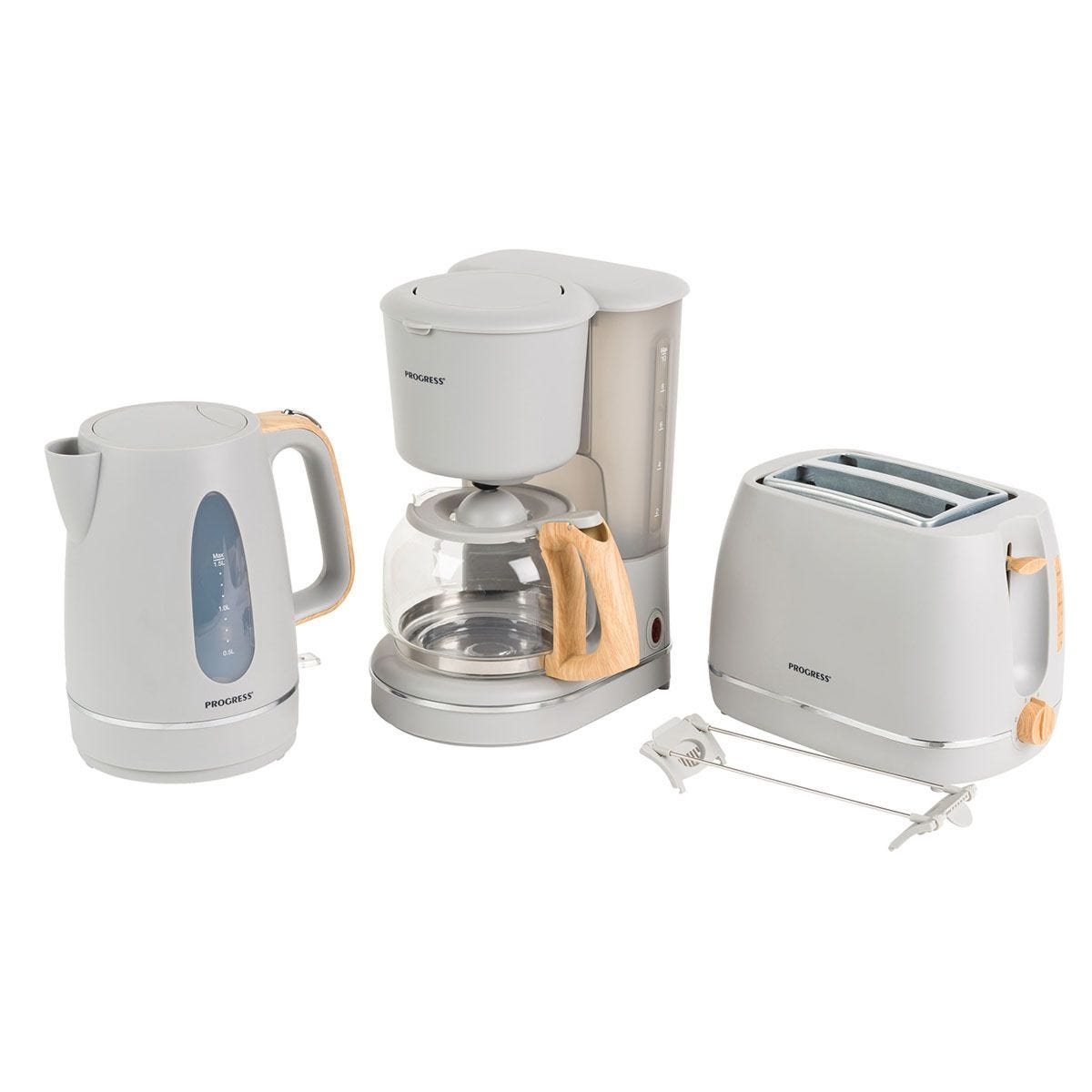 Progress® COMBO–5151 Scandi 2–Slice Toaster, 1.25L Coffee Maker, and 1.7L Jug Kettle – Grey with Wood Effect Finish