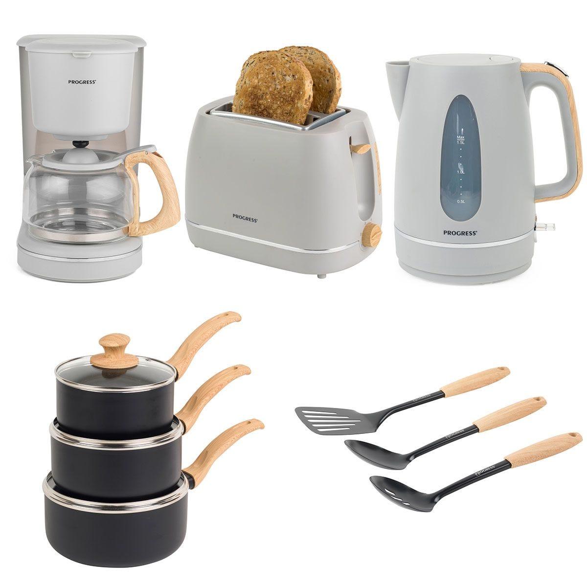 Progress® COMBO–6800 Scandi Kitchen Essentials Set – Grey and Black