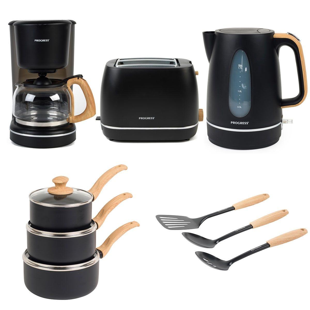 Progress® COMBO–6801 Scandi Kitchen Essentials Set – Black
